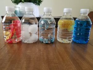 A picture of the sensory bottles I made.