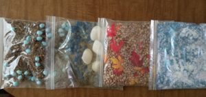 A picture of the sensory bags I made.