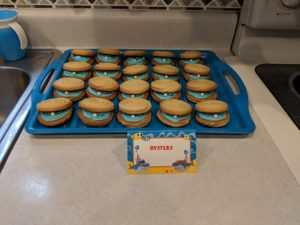 The oyster cookies for Little Man's baby shark party!