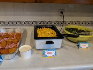 The hot food for Little Man's baby shark party!