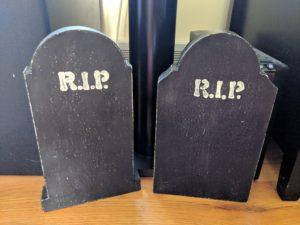 Halloween house tour - tombstones