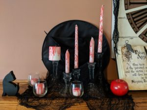 Halloween house tour - bloody candles and witches hat