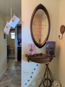 Halloween house tour - letters, mirror, and potions book