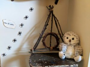 Halloween house tour - follow the spiders, hedwig, and hallows symbol
