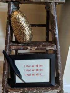 Halloween house tour - golden egg and I must not tell lies sign