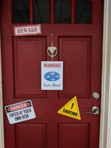The signs on the front door for Little Man's baby shark party!