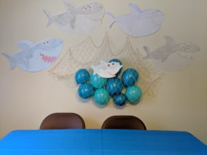 The wall decorations for Little Man's baby shark party!