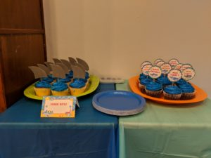 The cupcakes for Little Man's baby shark party!