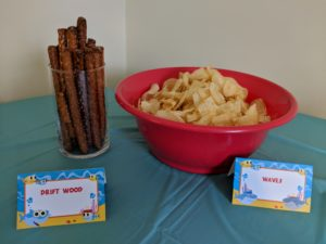 The snacks for Little Man's baby shark party!