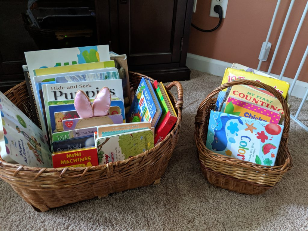 Toddler School Introduction book baskets.