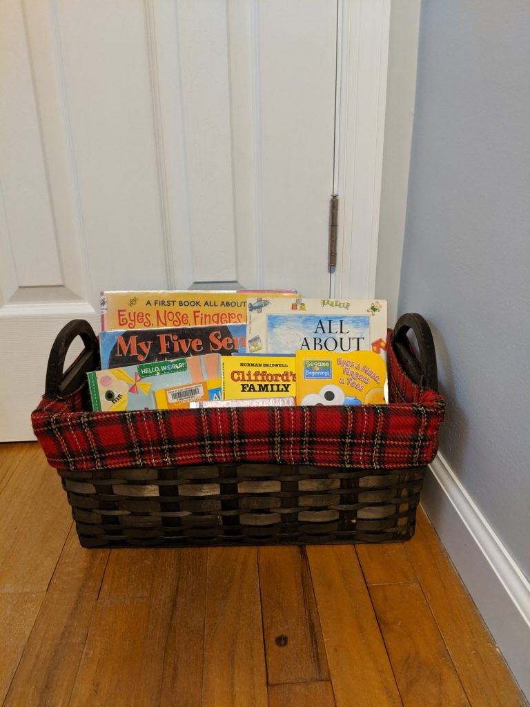 Toddler school introduction themed book basket