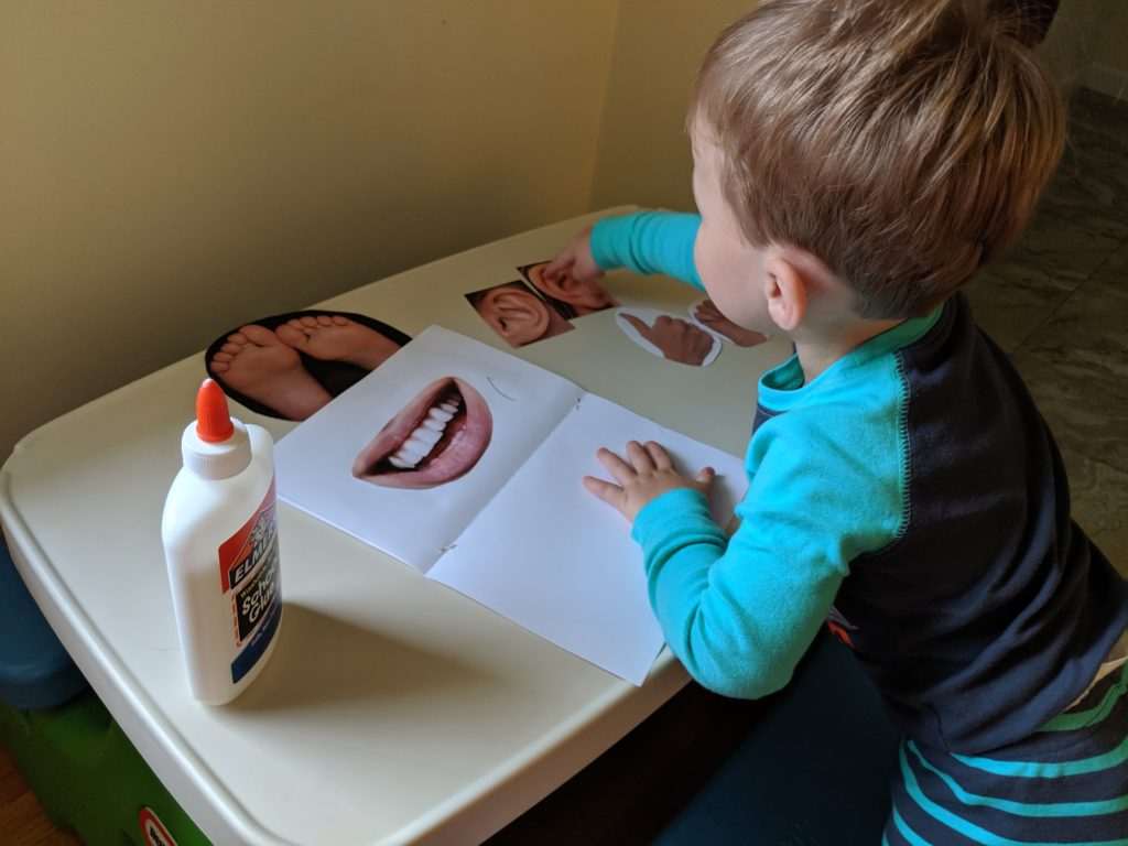 Little Man creating his Body Parts book.