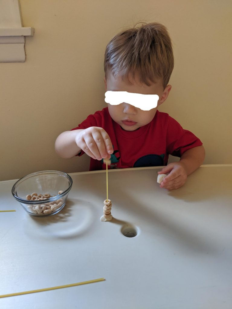 All About Me Activities- Toddler School - Cheerio Lacing
