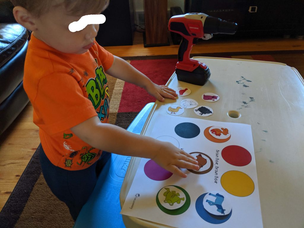 Little Man completing the Brown Bear Color Matching Activity